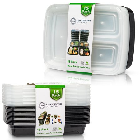 Lux Decor Meal Prep Containers With Lids 1 Compartment - Food Storage Containers Bento Box | BPA Free | Stackable | Pack of 15 (Halloween Meal Deals)