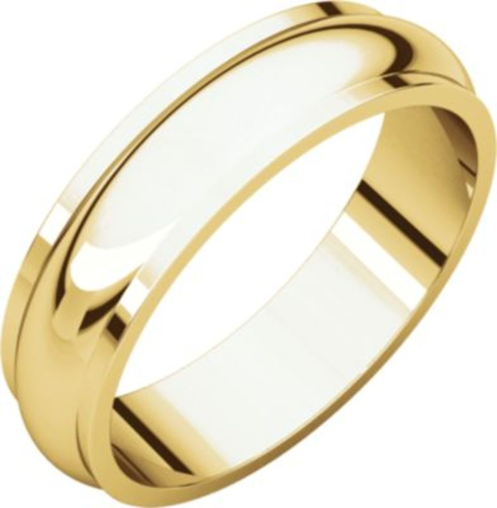 5mm Half Round Edge Band in 14k Yellow Gold - Size 12