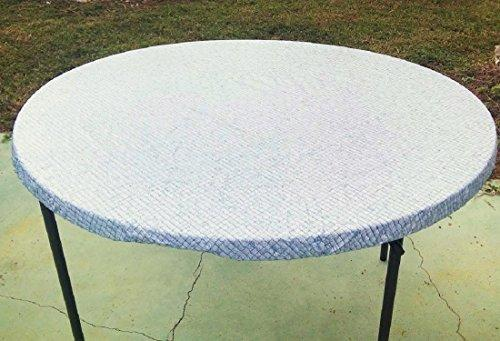 225 & fitted round elastic edge mosaic vinyl tablecloth table cover fits 36 to 48 blue