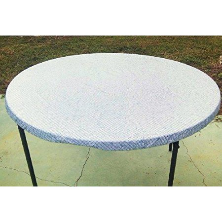 Fitted Round Elastic Edge Mosaic Vinyl Tablecloth Table Cover Fits