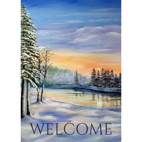Toland Home Garden Winter River Welcome 28 X 40 Inch House Flag Walmart Com Walmart Com