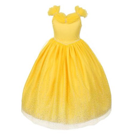Rainkids Big Girls Yellow Rhinestones Sparkly Tulle Tiara Dress 10