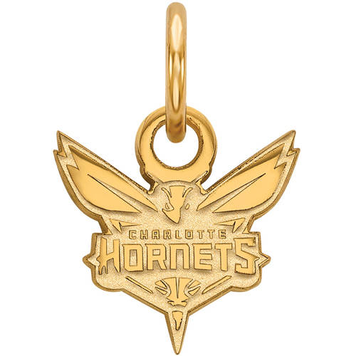 LogoArt NBA Charlotte Hornets 14kt Gold-Plated Sterling Silver Extra Small Pendant