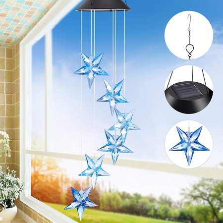 Solar Wind Chime Changing Colors Waterproof Six Star Solar Powered LED Hanging Lamp for Outdoor Garden Party Decoration - image 7 de 8