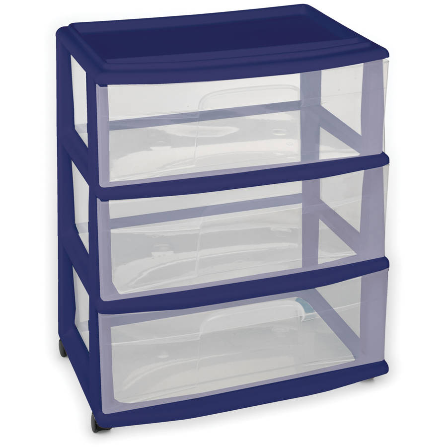 Homz 3-Drawer Wide Cart, Multiple Colors