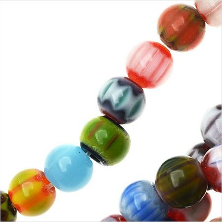 8mm Millefiori Glass - Millefiori Assorted Glass Simulated Beads, Round 6mm, 16 Inch Strand, Assorted