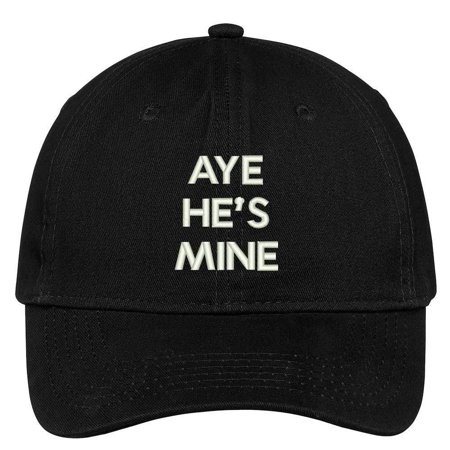 Trendy Apparel Shop Aye He's Mine Embroidered Low Profile Deluxe Cotton Cap Dad Hat](Miner Hats)