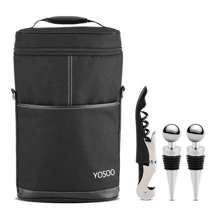 Beer Storage - Versatile Bottle Wine Carrier Insulated Travel Picnic Beer Storage Bag Case + Corkscrew Set