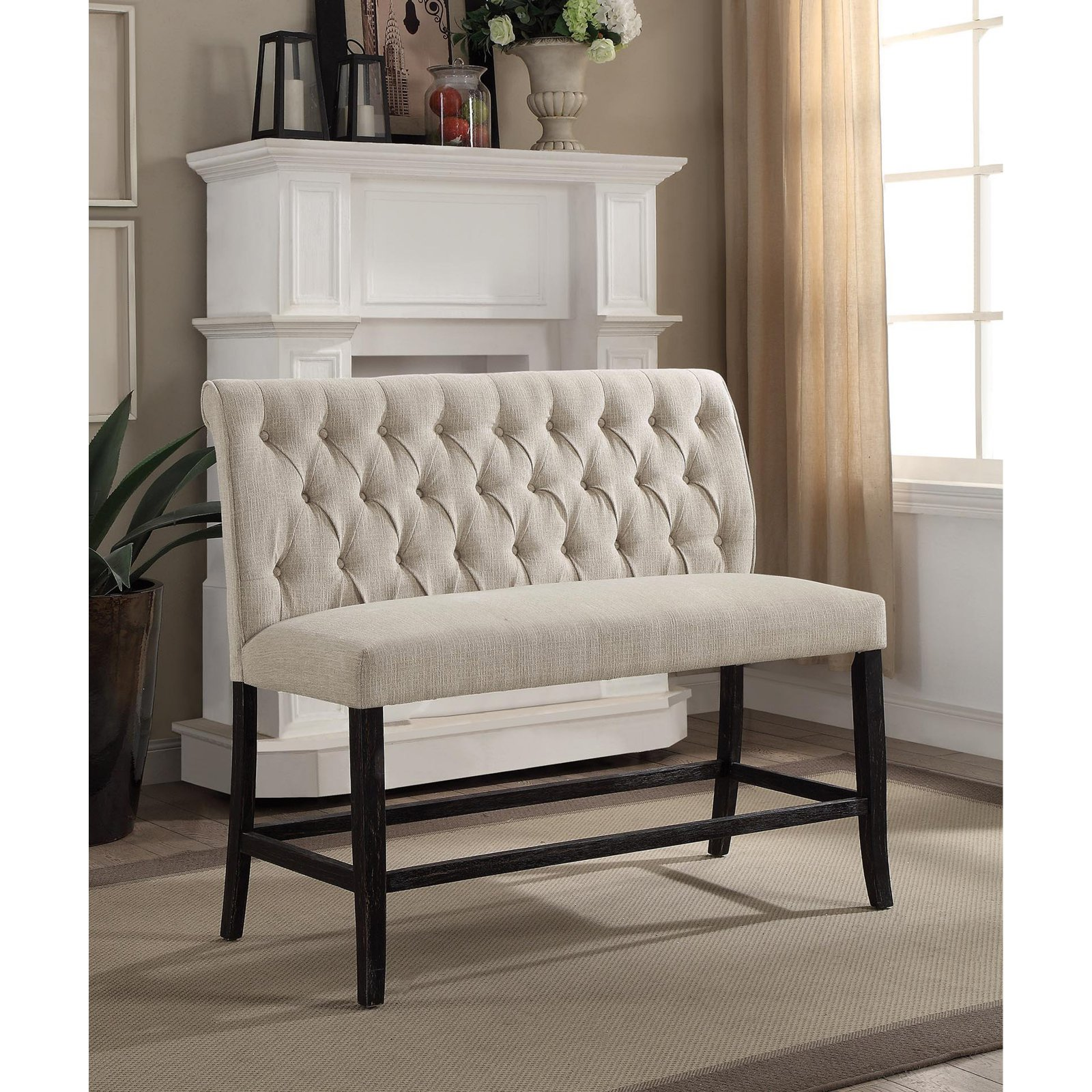 Furniture of America Ferndale Button Tufted Counter Height Bench