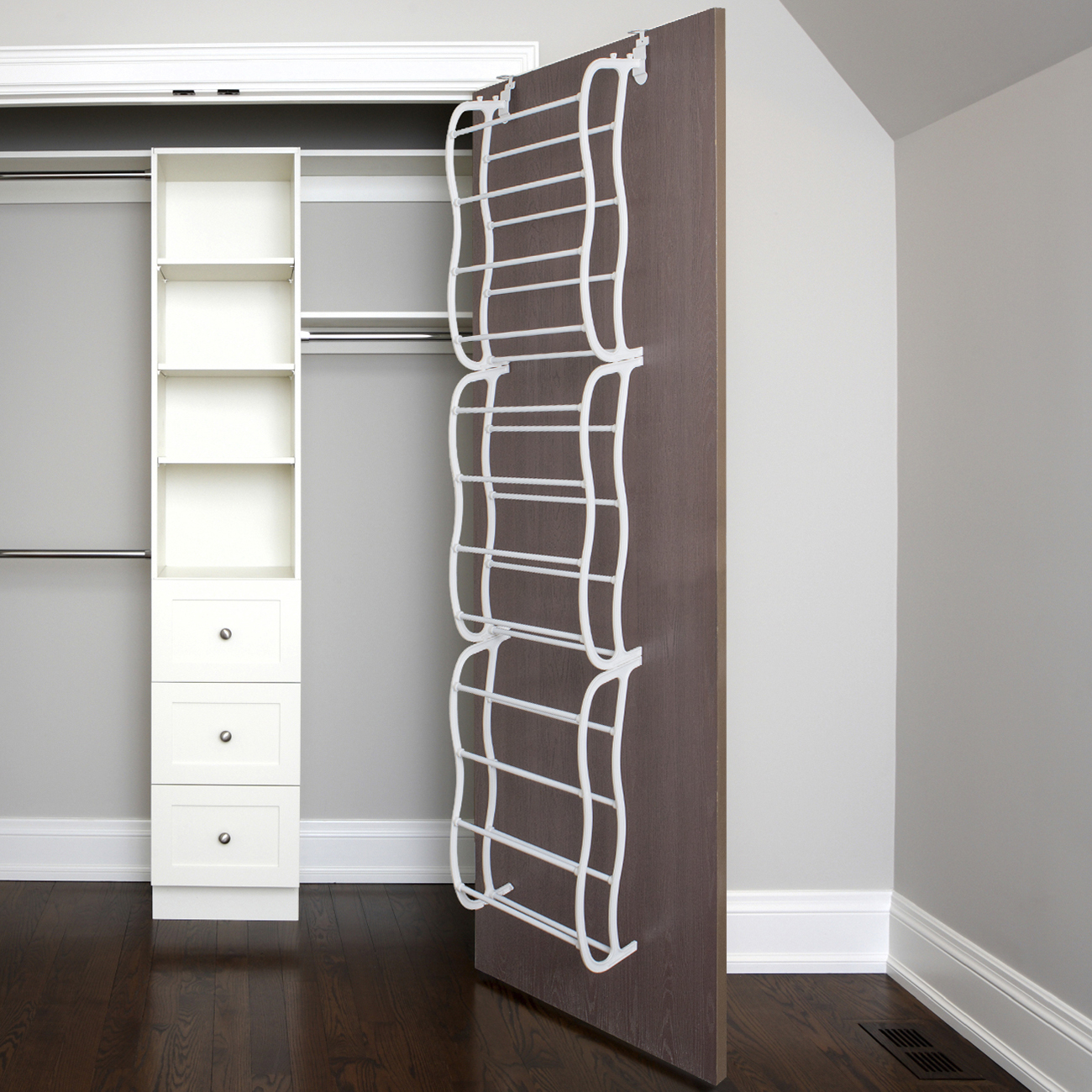 Over-The-Door Shoe Rack for 36 Pairs, Wall Hanging Closet Organizer Storage Stand