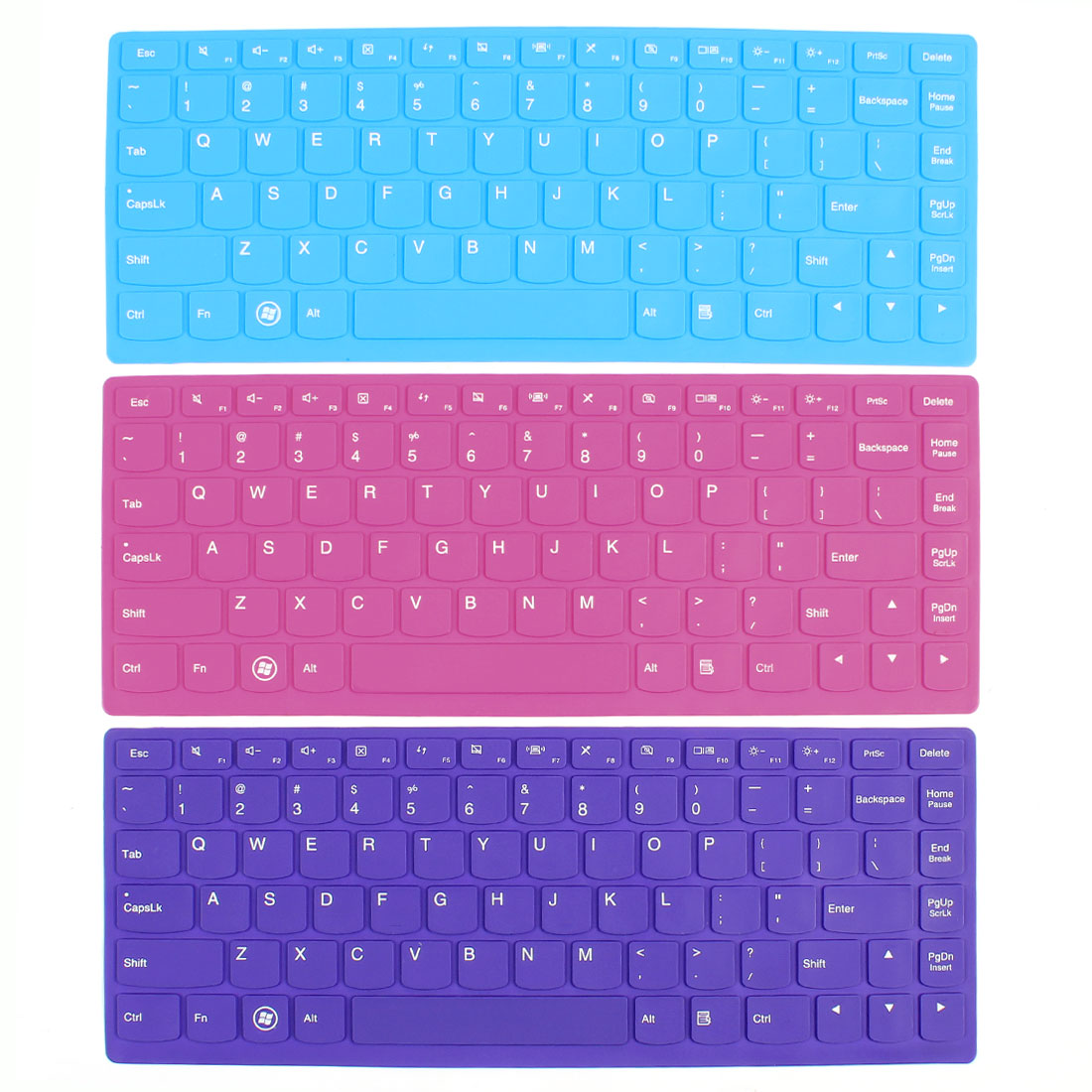Unique Bargains 3pcs Keyboard Silicone Protective Film Cover Blue Fuchsia Purple for Lenovo 14""