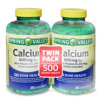 Spring Valley Calcium & D3 Coated Tablets, 250 Count, 2 Pack