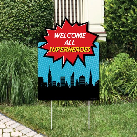 Super Hero Decorations (BAM! Superhero - Party Decorations - Birthday Party or Baby Shower Welcome Yard)