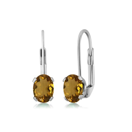 1.40 Ct Oval Whiskey Quartz Silver Plated 4-prong Leverback Earrings 7x5mm - image 1 of 1