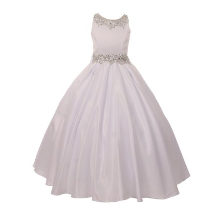 Girls White Shimmery Beaded Pleated Dull Satin Junior Bridesmaid Dress