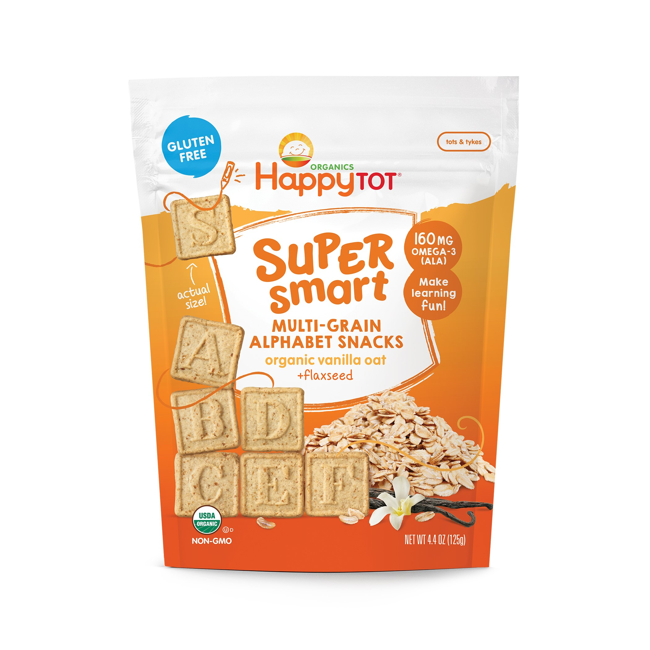 Happy Tot Super Smart Snacks, Organic Toddler Snack, Vanilla Oat + Flaxseed, 4.4 Oz