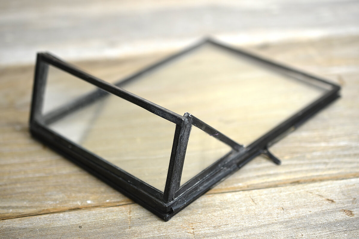 Standing Metal Double Glass Frame 5 inch x 2.25 inch x 6.75 inch ...