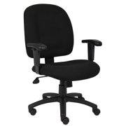 Boss Office & Home Contoured Comfort Adjustable Desk Chair with Adjustable Arms