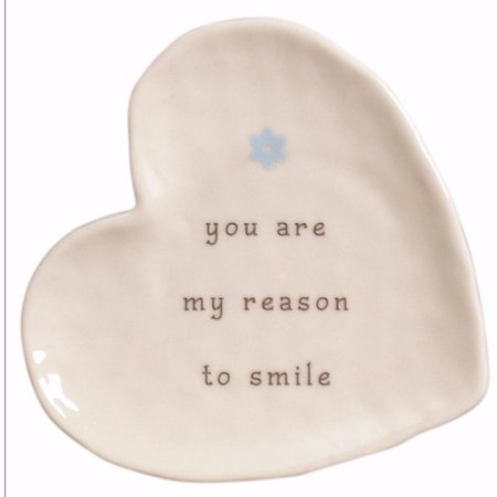Plate-Perfect Simplicity-Smile-Heart Shaped w/Wire Easel (3 3/8