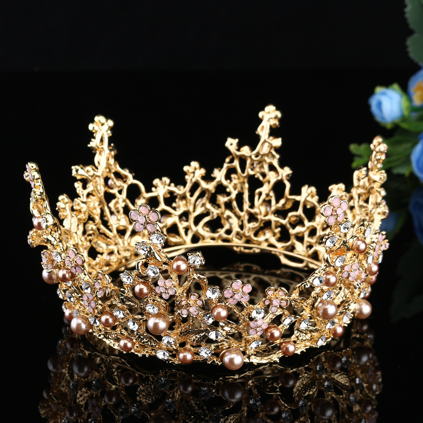 Bridal Wedding Round Colorful Rhinestone Tiara Crown Hair Headband Party A