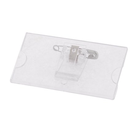 Unique Bargains Clear Plastic Safetypin Name Tag Clip Badge Card Holder 4pcs - Plastic Name Badge Holders