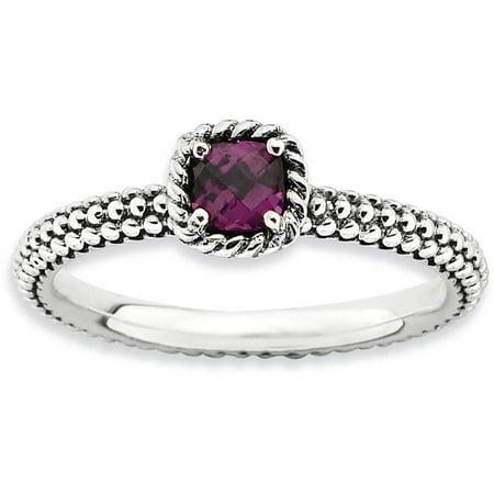 Checker-Cut Rhodolite Garnet Sterling Silver Ring