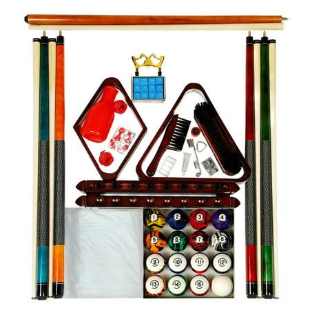 Billiard Pool Table Accessory Kit With Dark Classic Marble Style Ball Set Mahogany Finish