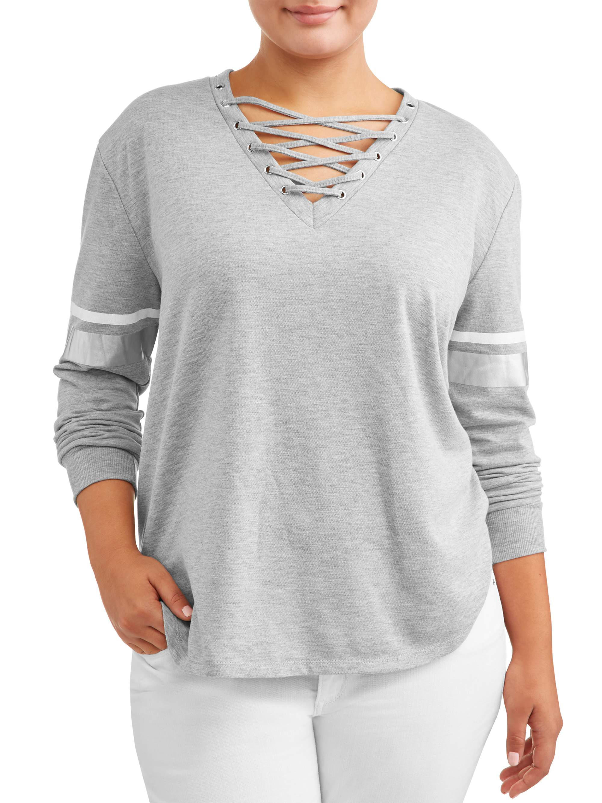 Juniors' Plus Size Long Sleeve Lace Up Front Sweatshirt with Foil Print