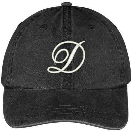 Trendy Apparel Shop Letter D Script Monogram Font Embroidered Washed Cotton Cap - Monogram Script Font