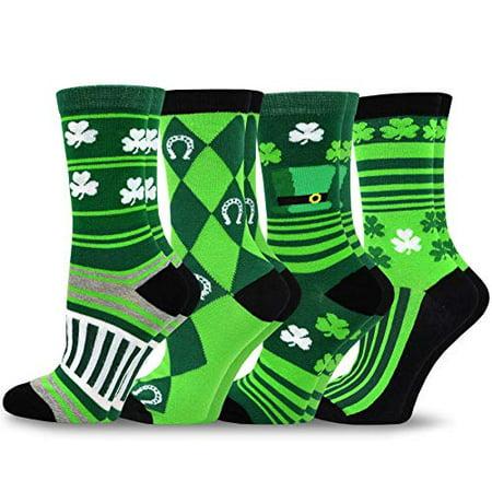 TeeHee St. Patricks Day Cotton Crew Socks Assorted 4-Pair Pack (Asst-B, - St Pattys Day Socks