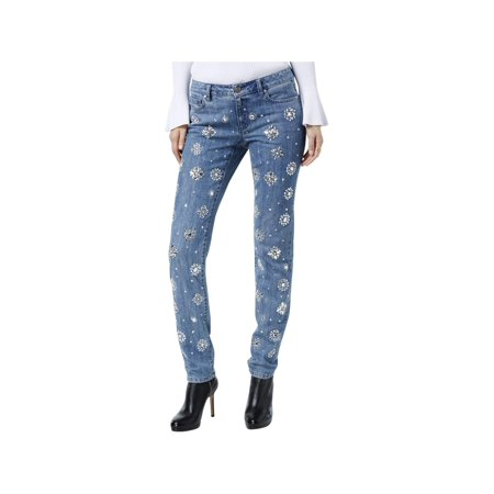 MICHAEL Michael Kors Womens Denim Embellished Skinny - Michael Kors Wide Leg Jeans