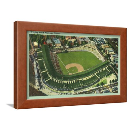 Aerial View of Wrigley Field No. 2 - Chicago, IL Framed Print Wall Art By Lantern Press