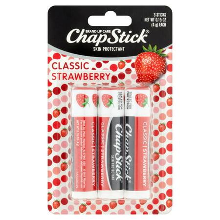 ChapStick Apaisant Baume à lèvres, classique Fraise, 0,15 oz (pack de 3)