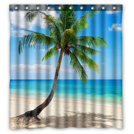Sea Shower - GCKG Palm Emerald Ocean Tropical Coast Beach Sea Waterproof Polyester Shower Curtain Bathroom Deco 66x72 inches