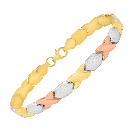 Just Gold Xo Link Bracelet In 14Kt Three Tone Gold