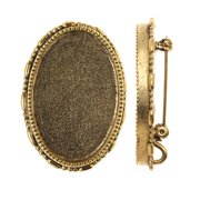 Antiqued Gold Plated Oval Brooch Bezel Pendant 26x30mm (1)