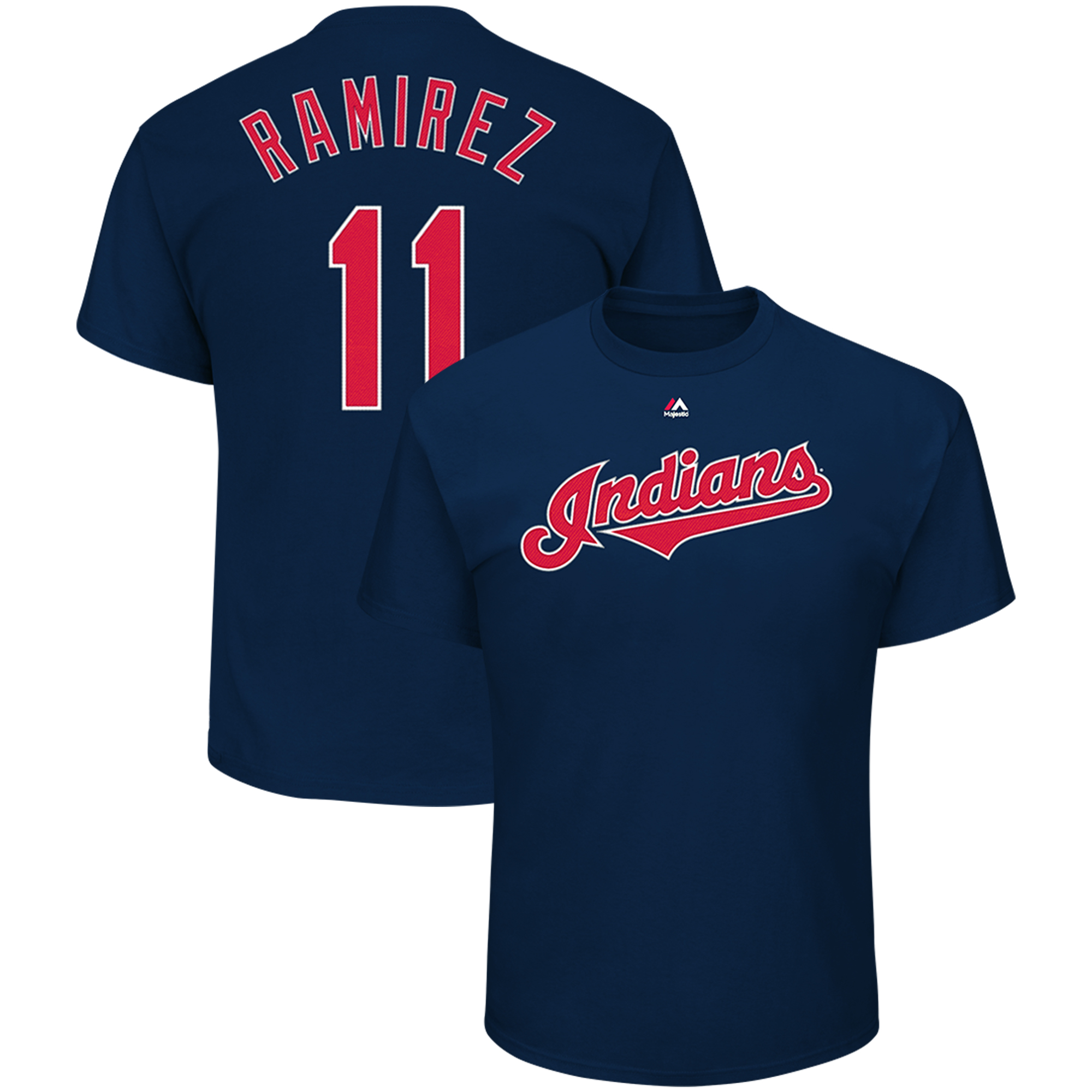 Jose Ramirez Cleveland Indians Majestic Official Name & Number T-Shirt - Navy