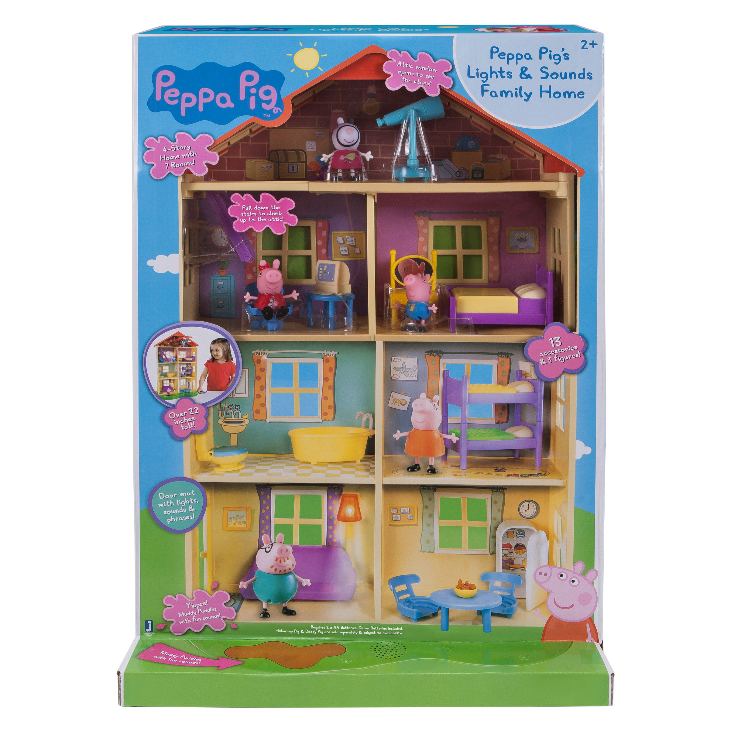 "Peppa Pig Lights /'N/' Sounds Family Home Playset 22/"" Doll House George Zoe Zebra"