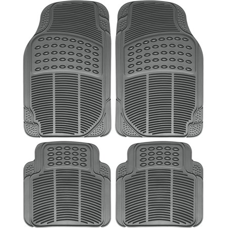 Chevy Passenger Van - OxGord 4-Piece Full Set Ridged Heavy Duty Rubber Floor Mats, Universal Fit Mat for Car, SUV, Van & Trucks, Front & Rear, Driver & Passenger Seat, Gray