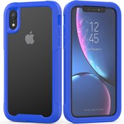 "iPhone XR Case 6.1"", Allytech Clear Silicone Hard PC Shell Full Body Protective Support Wireless Charing Bumper Rugged Anti-Scratch Hybrid Rubber Case Cover for Apple iPhone XR 6.1 Inch 2018, Blue"
