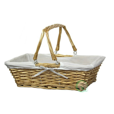 Rectangular Willow Basket with White Fabric (Verona Willow Basket)