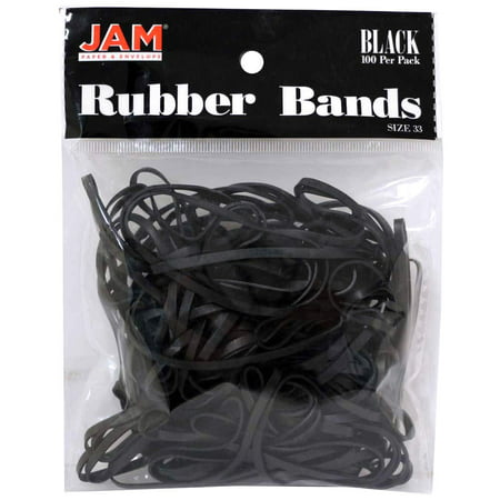 JAM Paper Rubber Bands, #33 Size, Black Rubberbands, 100/pack (Size 40 Rubber Bands)