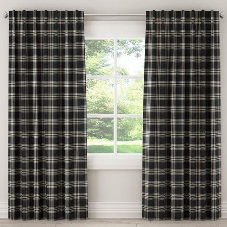 Skyline Furniture Skyline Blackout Curtain in Barnegat Plaid Black - Blackout Plaid