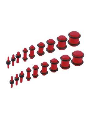 BodyJ4You 18PCS Plugs Stretching Kit 14G-00G Mix Ear Gauges Set Acrylic Double O-Ring Expanders