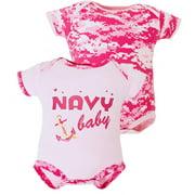 Pink Camo United States Navy Baby Bodysuit 2 pk 6-9M