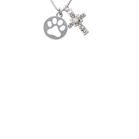 Cut Out Cross - Circle with Cut Out Paw Scroll Cross Necklace, 18