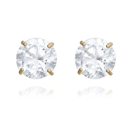 10K Yellow Gold Round Simulated Diamond CZ Stud Earrings