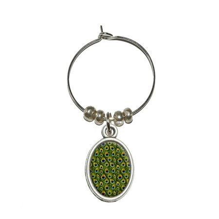 Oval Peacock (Peacock Print Oval Wine Glass Charm )