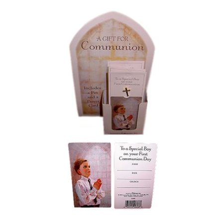 Club Pack of 24 Boy First Holy Communion Cross Pins with Prayer Cards (Boys First Communion)