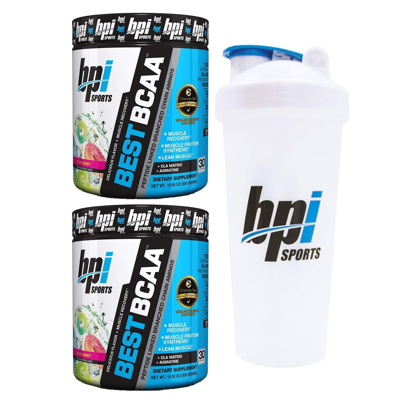 BPI Sports Best BCAA Branched Chain Amino Acids Pack of Two 30 Servings Sour Candy with Official BPI Shaker